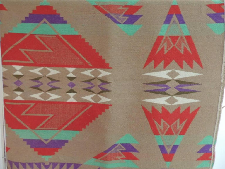 Large vintage Pendleton wool blanket Navajo style, wool blanket with large bold pattern in shades of red, green, purple, natural, tan and brown. Size: 58 W x 74 L.