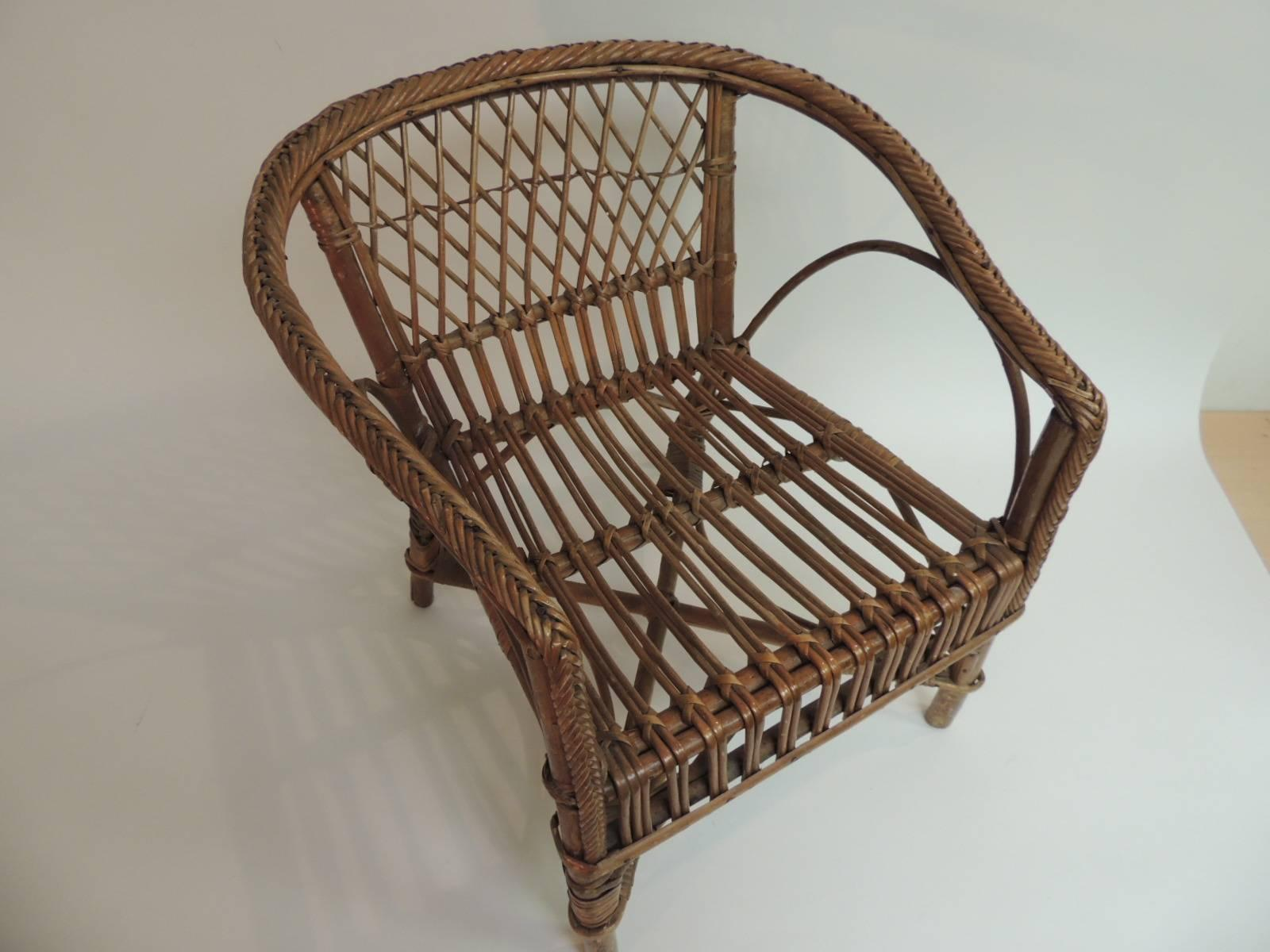 Superbe Offered By The Antique Textiles Galleries: Vintage Rattan And Bamboo Childu0027s  Armchair Vintage Rattan And