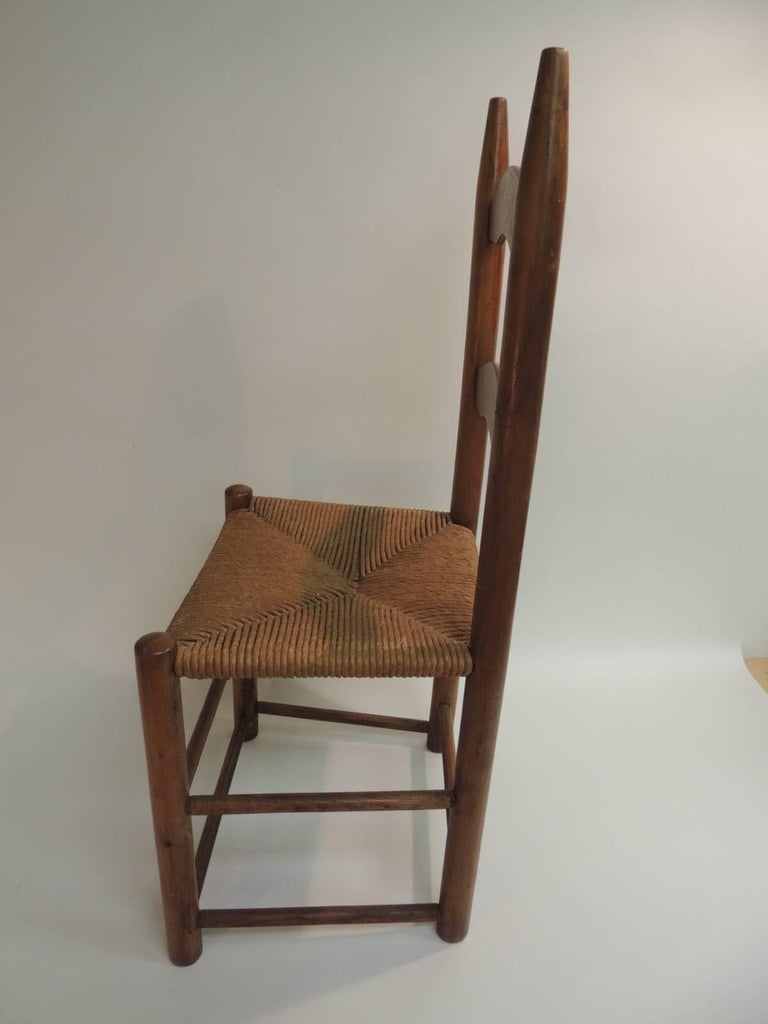 Shaker CLOSE OUT SALE: Antique Ladder Back Country Child's Chair with Rush  Seat For Sale - CLOSE OUT SALE: Antique Ladder Back Country Child's Chair With Rush