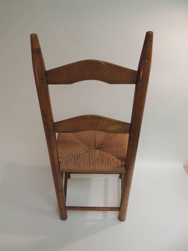 American Antique Ladder Back Country Child's Chair with Rush Seat For Sale