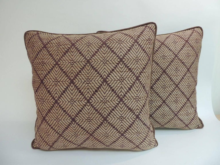 Antique Textiles Galleries: Pair of Dark Brown African Artisanal Textile Embroidery Decorative Pillows Pair of Dark Brown African Artisanal Textile Embroidery Decorative Pillows with dark brown textured linen backings and custom trim all around,