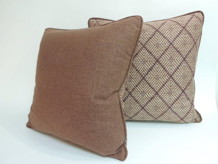 Tribal Pair of Dark Brown African Artisanal Textile Embroidery Decorative Pillows For Sale