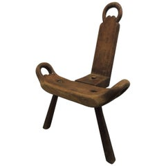"CLOSE OUT SALE: Vintage Primitive Rustic Tripod Legs ""Birthing"" Chair"