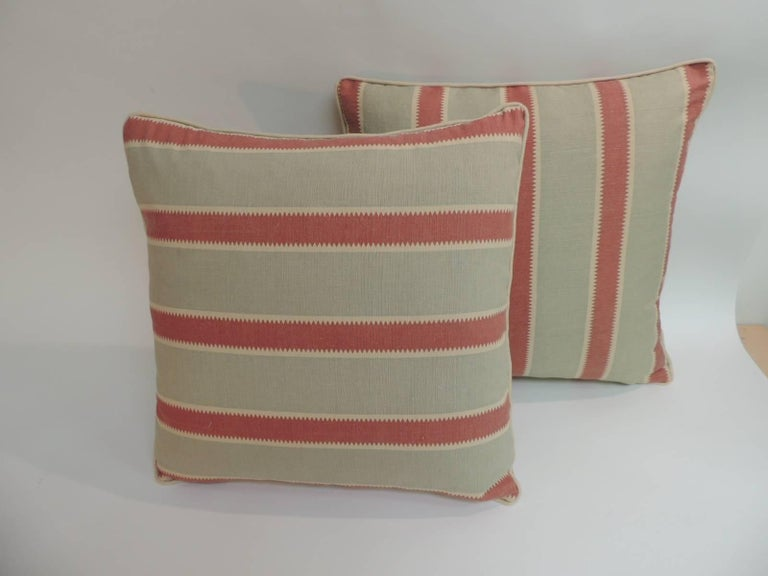 CLOSE OUT SALE Pair Of Red And Green Bennison Stripe Fabric Classy Fabric For Decorative Pillows