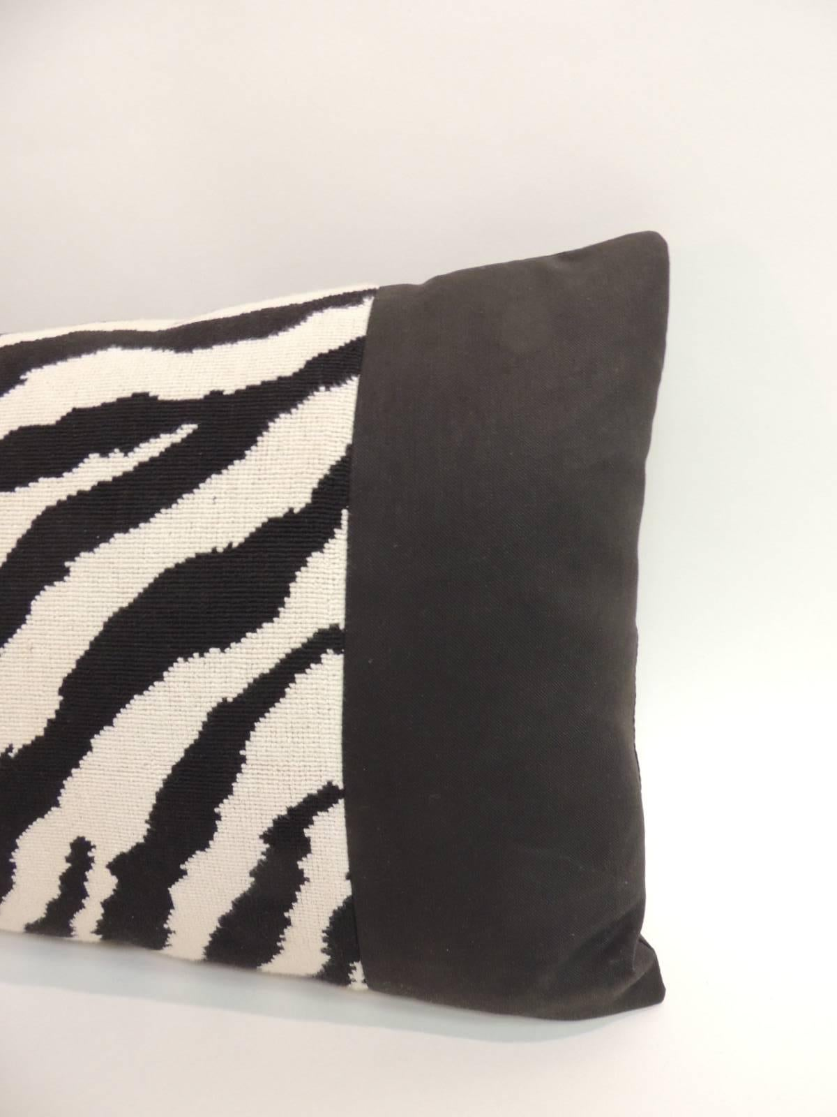 Vintage Black And White Zebra Pattern Long Decorative Bolster Pillow With  Black Cotton Frame And Backing