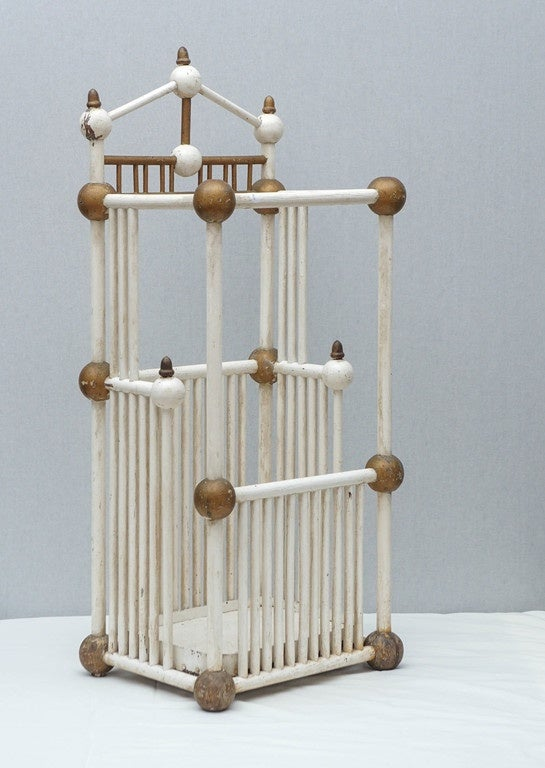 19th century white and gold painted stick and ball Folk Art umbrella stand.