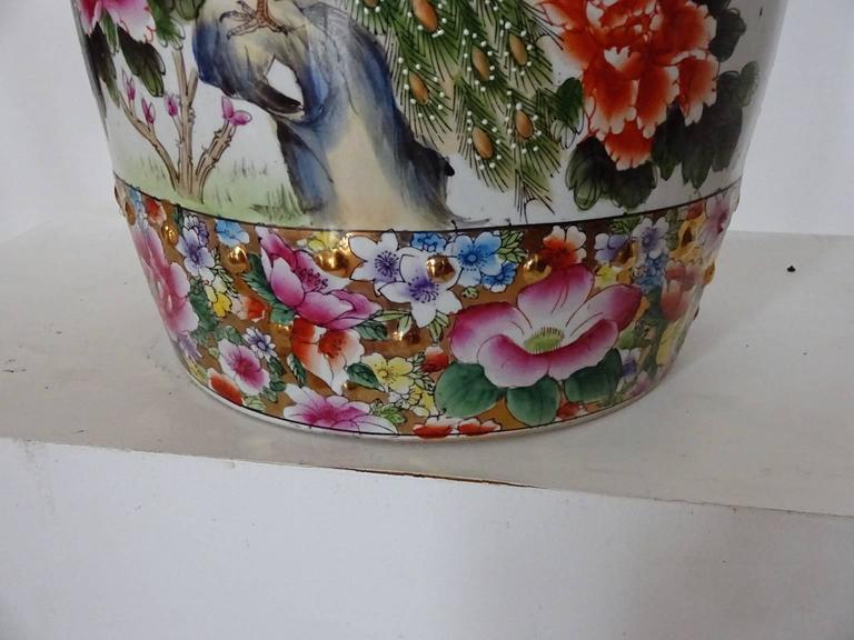Colorful Chinese Porcelain Garden Seat With Peacock At 1stdibs