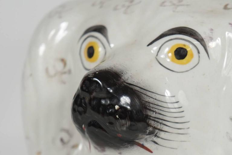 Pair of Similar Staffordshire Porcelain Spaniels For Sale 2