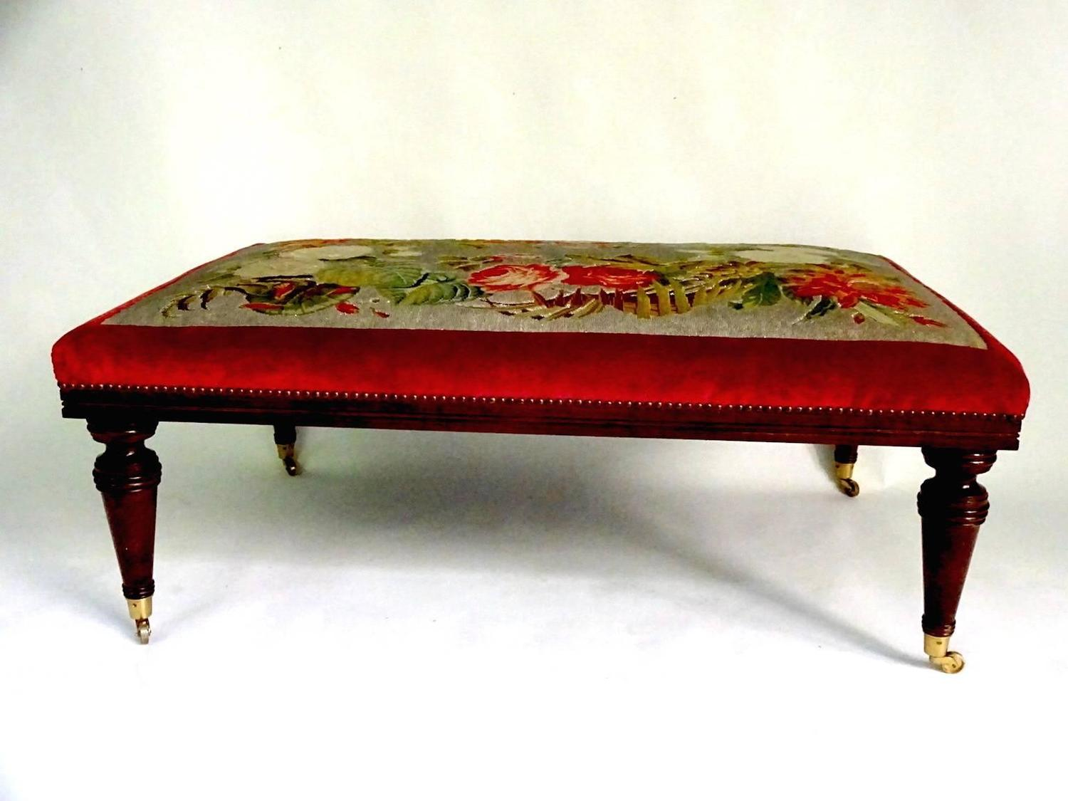 Victorian Mahogany Bench With Beadwork Needlepoint Seat For Sale At 1stdibs