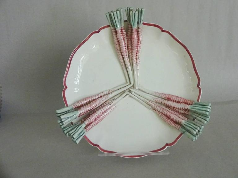 trompe l 39 oeil pottery radish plate for sale at 1stdibs. Black Bedroom Furniture Sets. Home Design Ideas