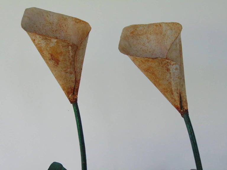Unknown Pair of Decorative Tole Peint Calla Lilies in Concrete Faux Bois Jardinières For Sale