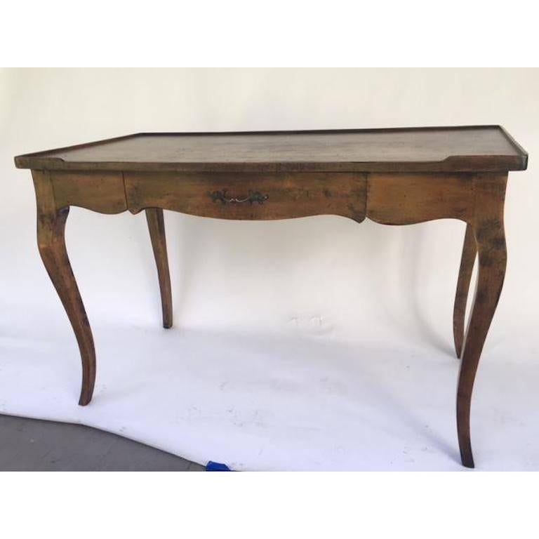 Louis Xv Single Drawer Provincial Style Stained Wood Bureau Plat For