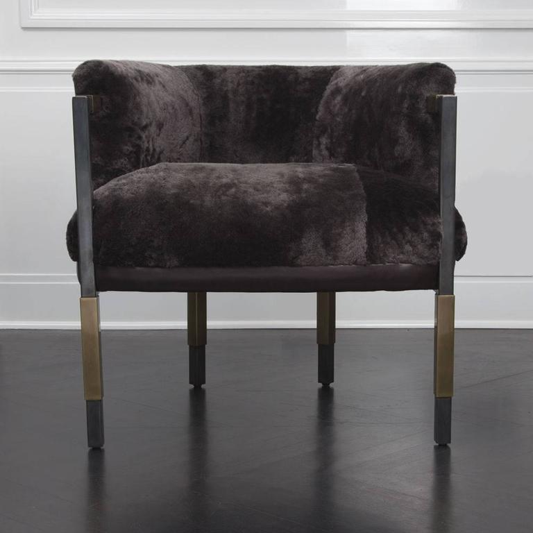 American Larchmont Chair in Mink Shearling and Beige Shearling For Sale
