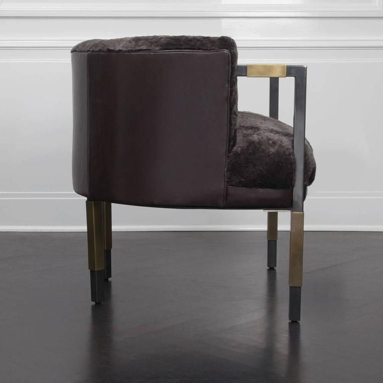 Larchmont Chair in Mink Shearling and Beige Shearling In Excellent Condition For Sale In West Hollywood, CA