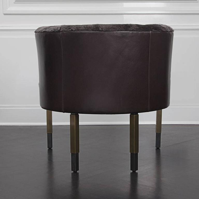 Contemporary Larchmont Chair in Mink Shearling and Beige Shearling For Sale