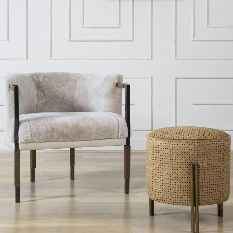 Upholstery Larchmont Chair in Mink Shearling and Beige Shearling For Sale