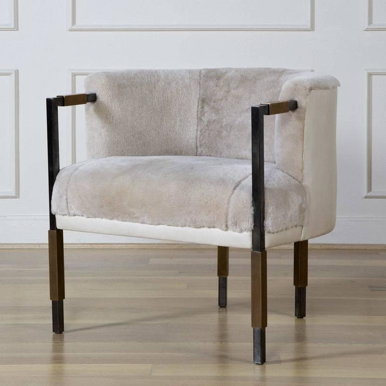 Larchmont Chair in Mink Shearling and Beige Shearling For Sale 1