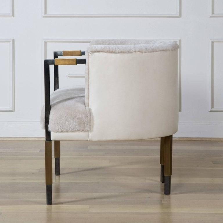 Larchmont Chair in Mink Shearling and Beige Shearling For Sale 3