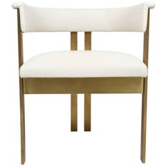 Elliott Dining Chairs, Burnished Brass and Ivory Leather