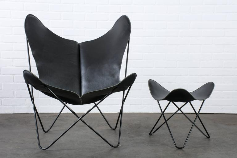 vintage midcentury leather butterfly chair with ottoman at 1stdibs. Black Bedroom Furniture Sets. Home Design Ideas