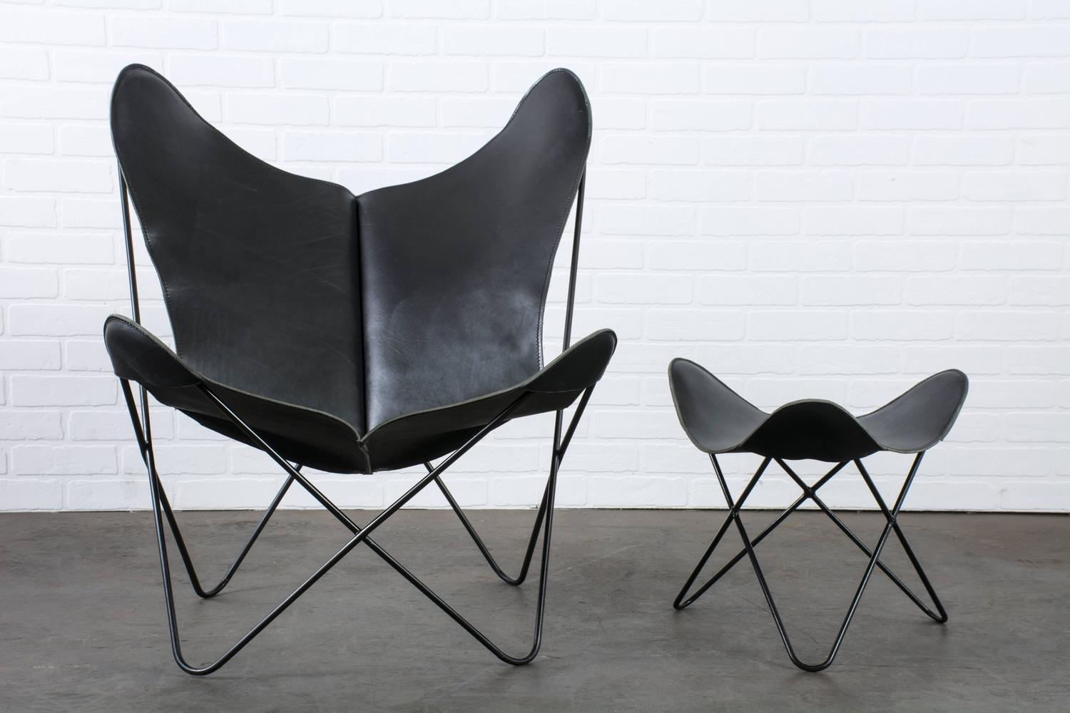 vintage midcentury leather butterfly chair with ottoman. Black Bedroom Furniture Sets. Home Design Ideas