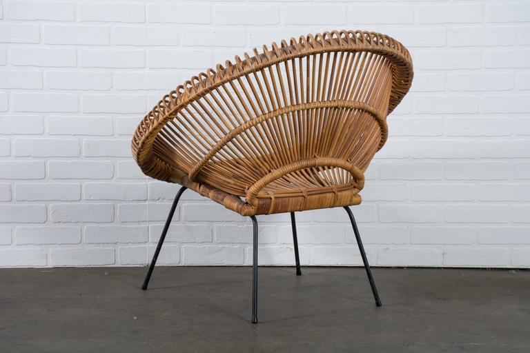 20th Century Vintage Mid Century Rattan Chair In Manner Of Janine Abraham  And Dirk Jan