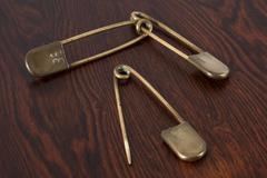 Set of Three Large Vintage Brass Safety Pins