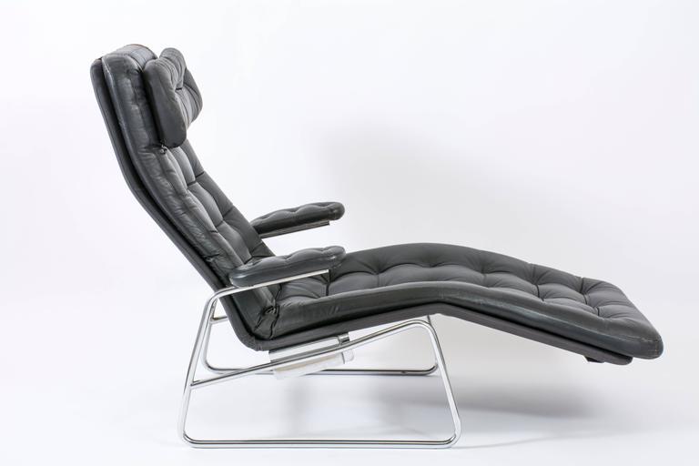 Vintage Mid Century Leather Chaise By Sam Larsson For Dux