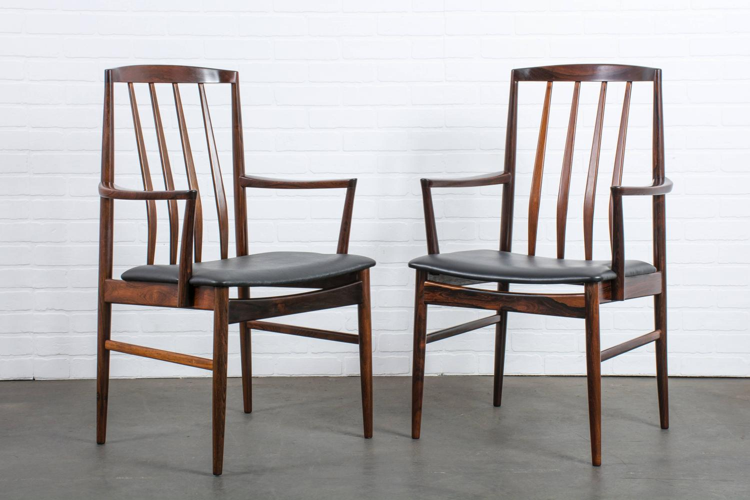 Set Of Six Danish Modern Rosewood Dining Chairs At 1stdibs