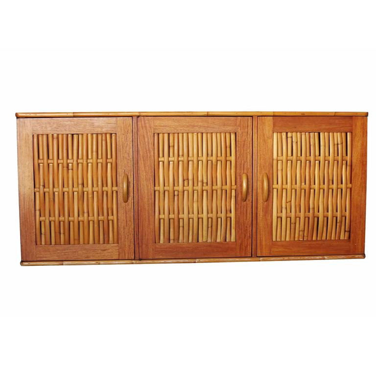 Rare Restored Mid Century Rattan and Mahogany Dining Set with Sideboard 9