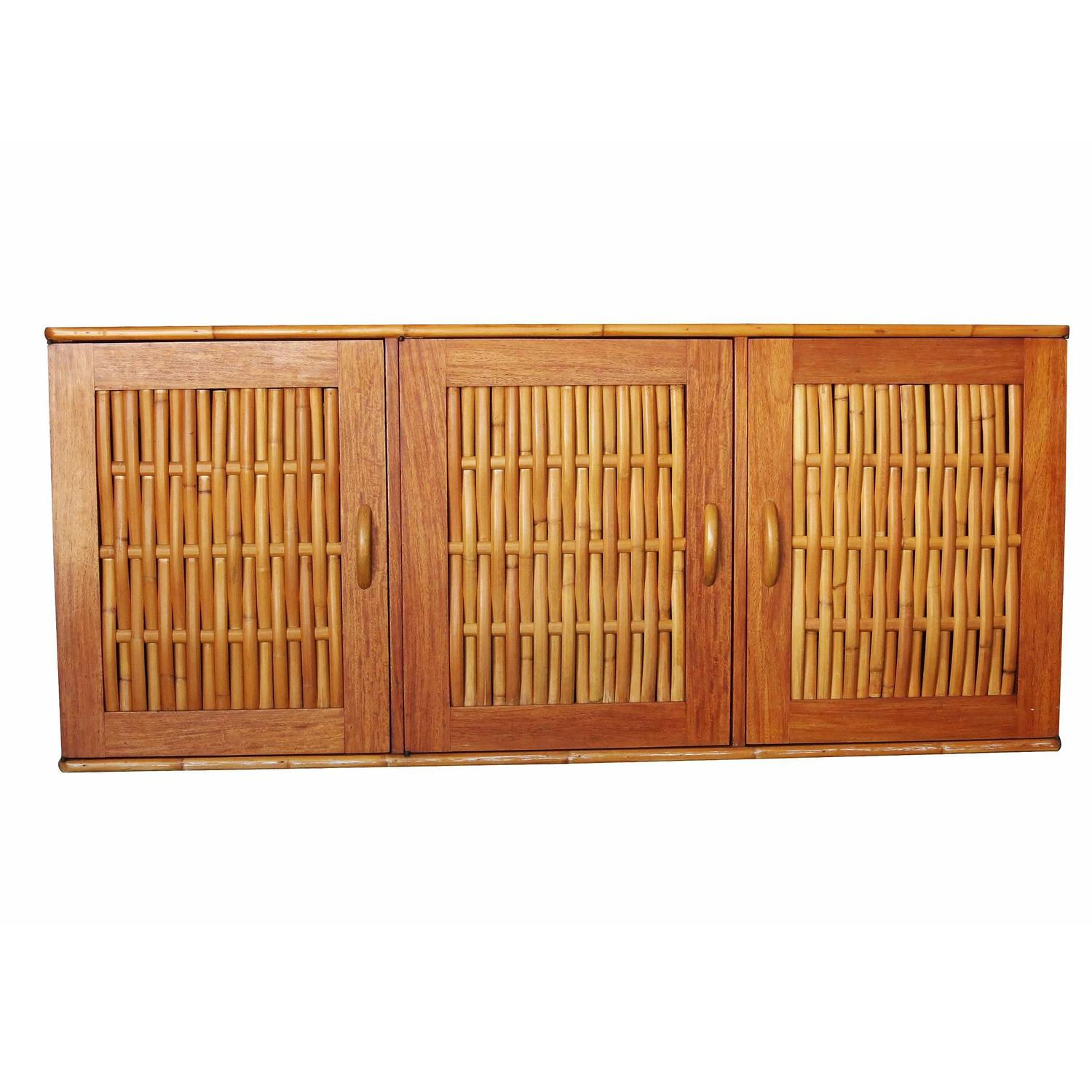 Rare mid century rattan and mahogany dining set with for Sideboard rattan