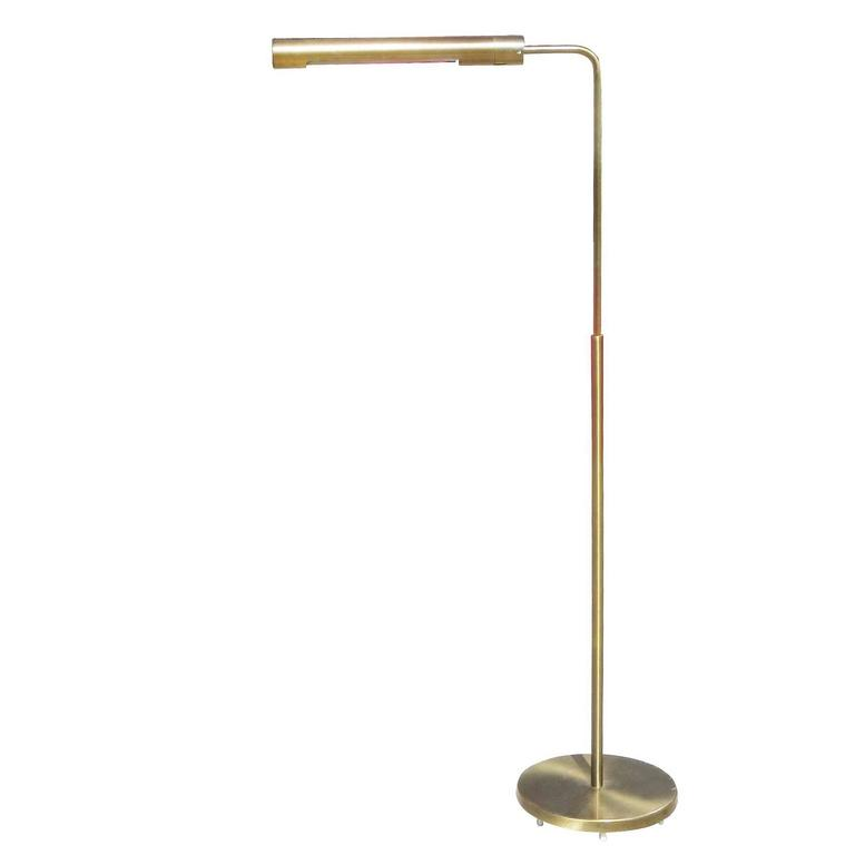 Long cylinder form brass reading floor lamp by casella for for Paper cylinder floor lamp