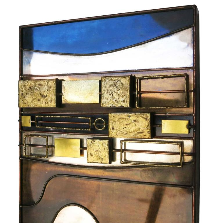 Large Curtis Jere Abstract Mix Metal Wall Art Sculpture In Excellent Condition For Sale In Van Nuys, CA