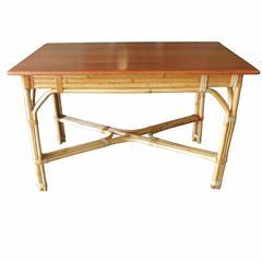 Restored Mid-Century Rattan and Mahogany Dining Table