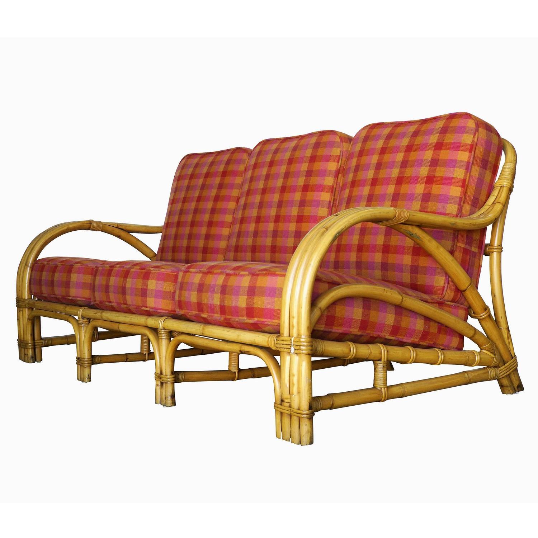 "Tropical ""1940s Transition"" Three-Seat Rattan Sofa at 1stdibs"