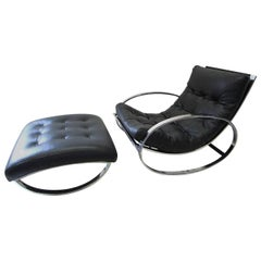 Renato Zevi Ellipse Rocking Chair and Ottoman