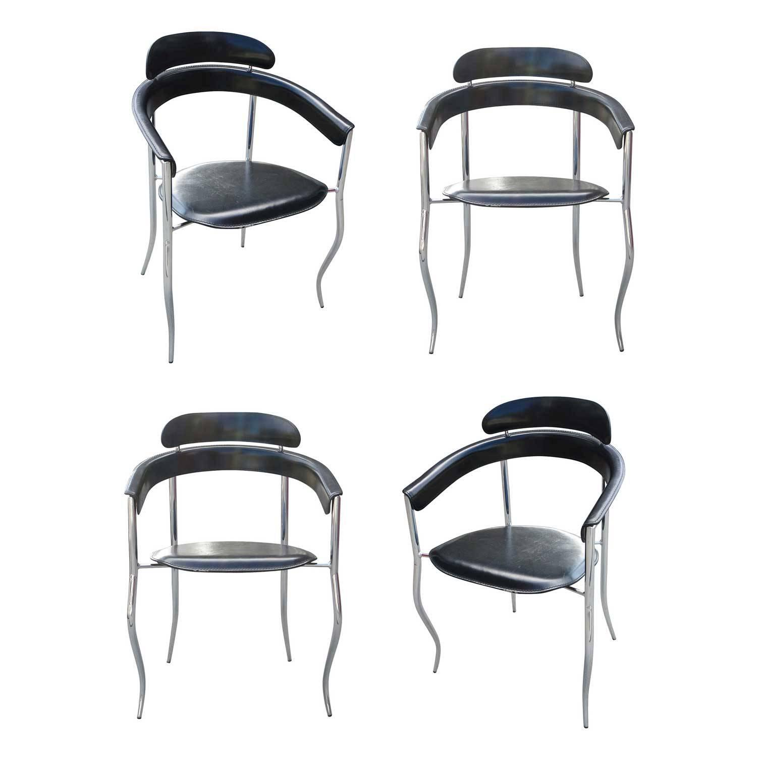 Beau Set Of Four Stiletto Architectural Chairs By Arrben, Italy