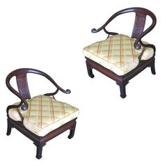 James Mont Style Horseshoe Lounge Chairs, Pair **Saturday Sale**