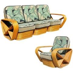 Restauriertes Sofa und Sessel-Set im Paul-Frankl-Stil
