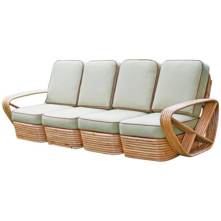 Used Cane Sofa For Sale In Bangalore: Restored Square Pretzel Rattan Four-Seat Sofa By Paul