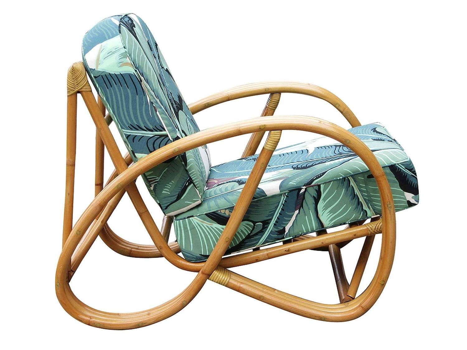 Restored 3/4 Round Pretzel Rattan Lounge Chair With Beverly Palms Cushions  At 1stdibs