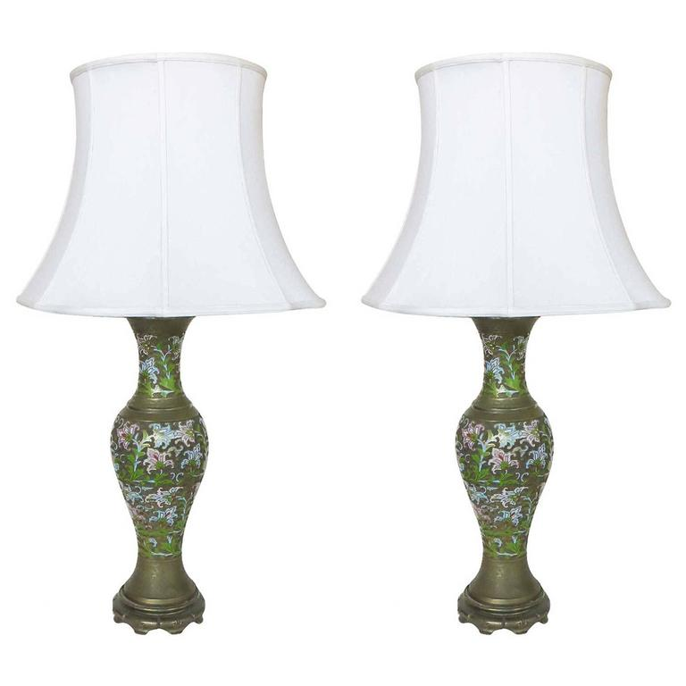 Pair of Chinese Enameled Brass Champlevé Lamp