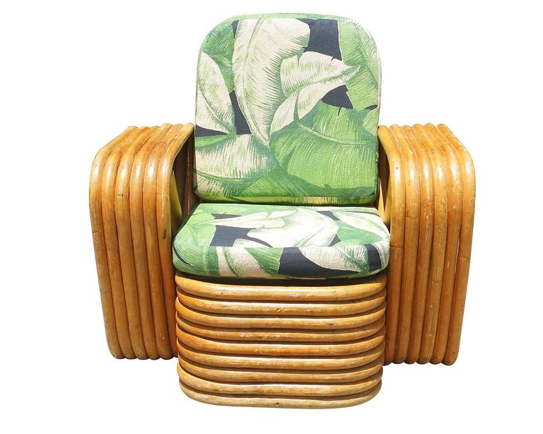 Mid-Century Modern Restored Paul Frankl Square Pretzel Rattan Children's Lounge Chair For Sale