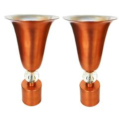 Copper Mid-Century Torchiere Table Lamps, Pair