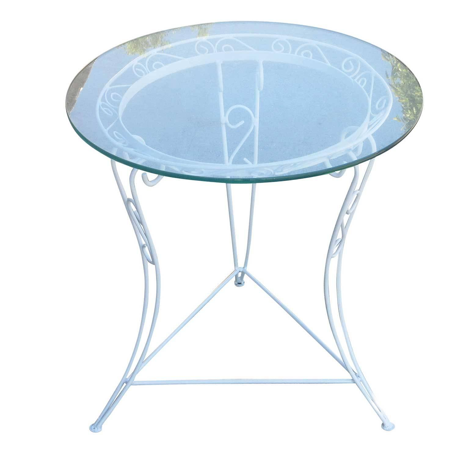 scrolling steel patio side table with glass top circa