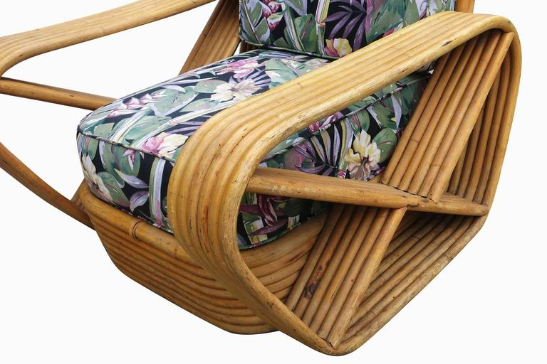Restored Paul Frankl Style Six-Strand Square Pretzel Rattan Lounge Chair Ottoman 7