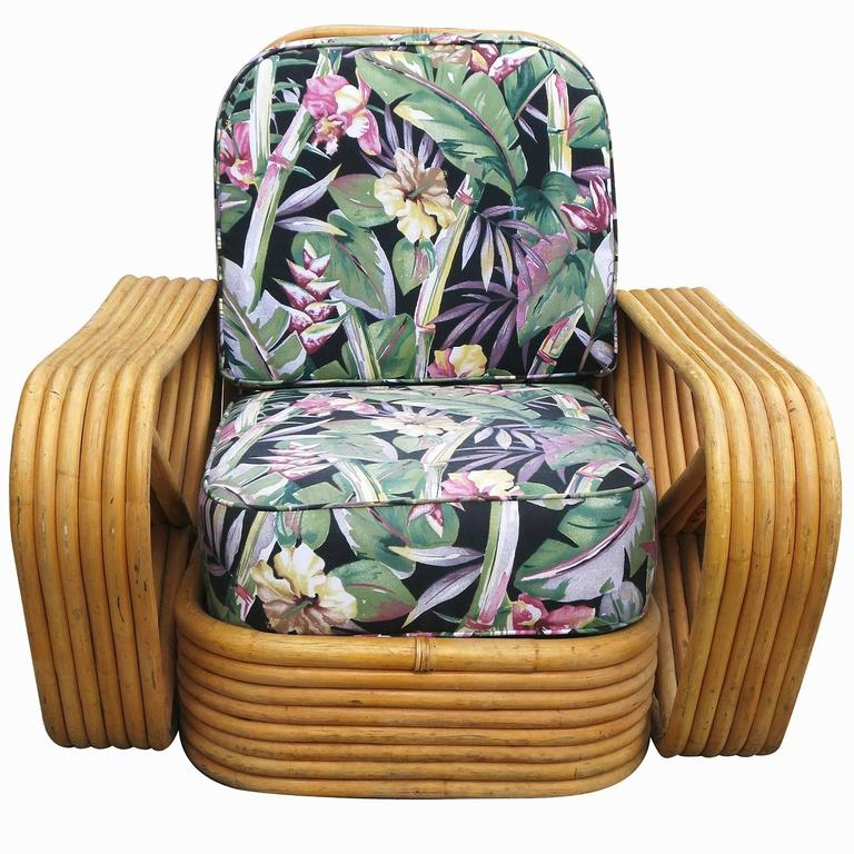 Restored Paul Frankl Style Six-Strand Square Pretzel Rattan Lounge Chair Ottoman 3
