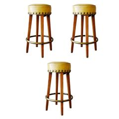 Midcentury Yellow Bar Stools with Round Footrest, Set of Three