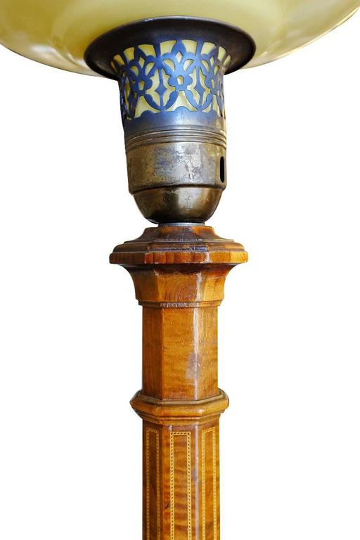 Art Deco Mahogany Torchiere Floor Lamp, Pair In Excellent Condition For Sale In Van Nuys, CA