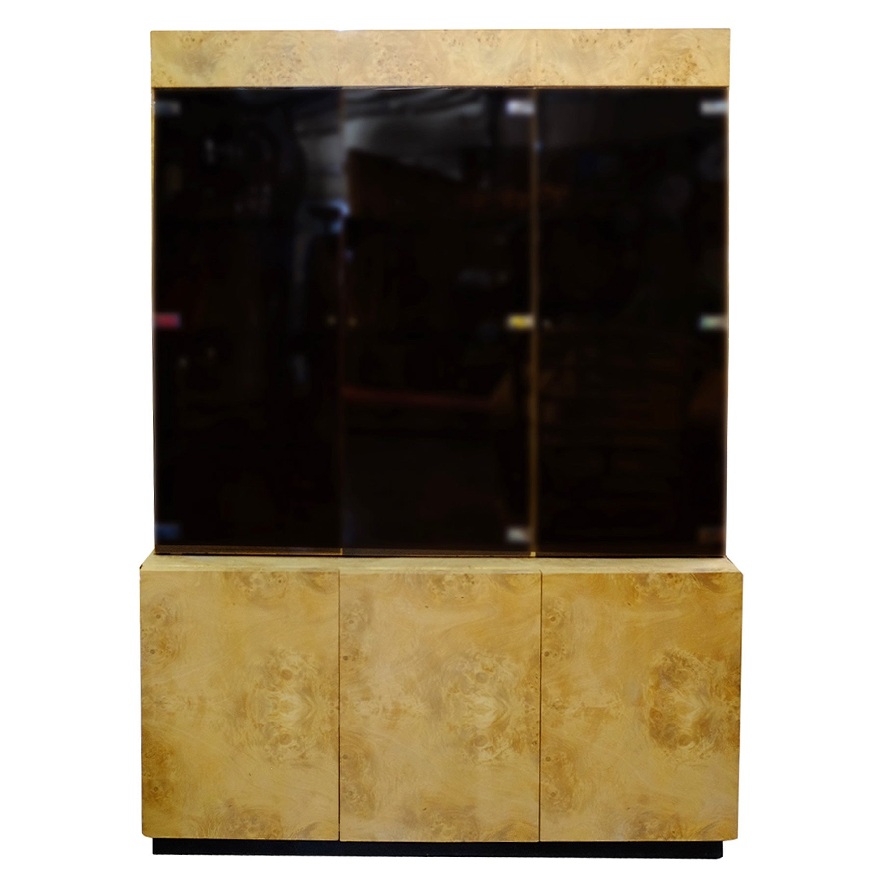 Burl wood China Lighted Cabinet by Dillingham